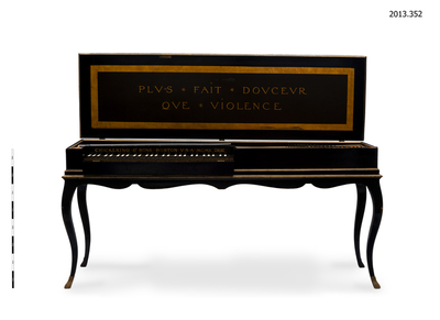 Clavichord; stand (elements of musical instruments); strings (elements of musical instruments); documentary artefacts; key (locks & enclosures); tuning wedges