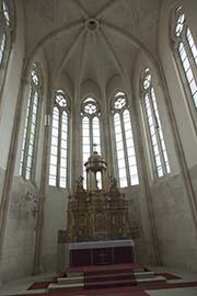 Photo of the main altar, with windows