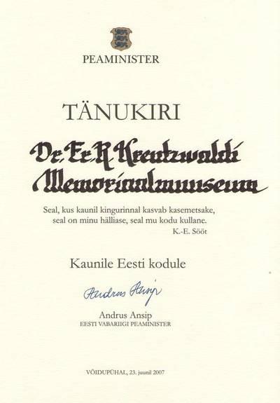 Tänukiri. KAUNILE EESTI KODULE. Eesti Vabariigi peaministri tänukiri Dr. Fr.R. Kreutzwaldi Memoriaalmuuseumile. 2007.a.