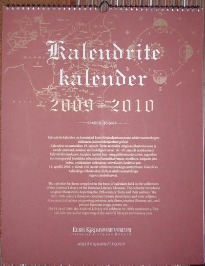 Kalender. KALENDRITE KALENDER 2009 - 2010.