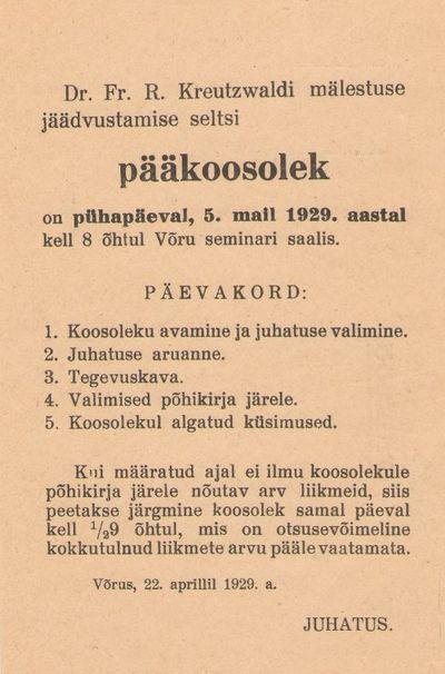 Kutsekaart. Dr. Fr. R. Kreutzwaldi Mälestuse Jäädvustamise Seltsi pääkoosolekule 05. mail 1929. Wõru.
