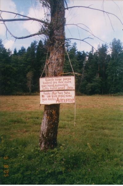 Foto. Avinurme nime legend. Avinurme, 05.08.2005.
