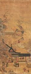 Paravento composto da cinque ante raffiguranti i 'cento bambini (baekjado)'