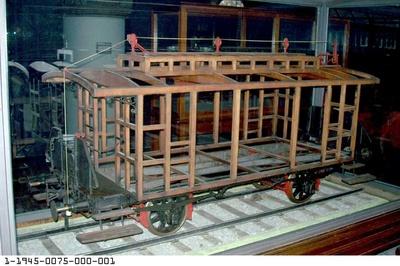 Wagenmodell mit Gewichtsbremse Bauart von Borries, Modell 1:5