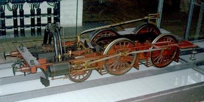 Untergestell einer preußischen Personenzugdampflok Typ P 3.1, Modell 1:5