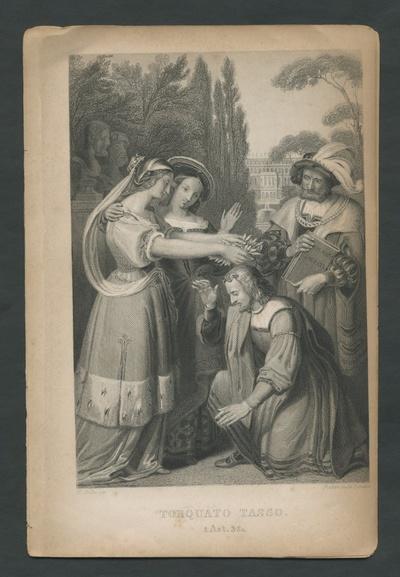Torquato Tasso. 1 Act. 3 Sc. Tasso wird von den Frauen bekränzt