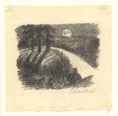 Flusslandschaft im Mondlicht