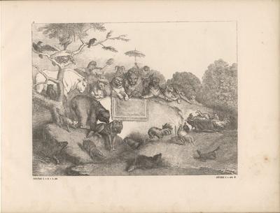 Die Hühner bringen die getötete Henne Kratzefuß vor König Nobel