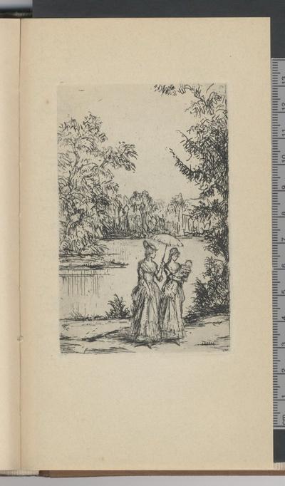 Charlotte und Ottilie beim Spaziergang mit dem Kind