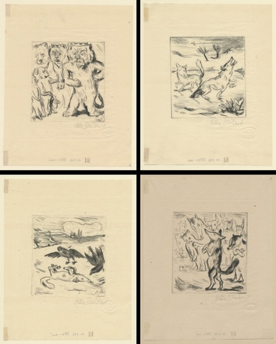 Serie von 20 Kaltnadelarbeiten und einer Zeichnung in blauem Farbstift. Druck 30 für die Mareés-Gesellschaft, Exemplar 10