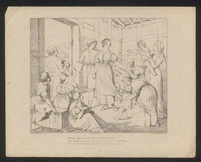 Hermann und Dorothea bei der Wöchnerin in der Scheune