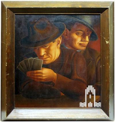 Zwei Kartenspieler, Ölgemälde auf Leinwand, eingefasst im Holzrahmen