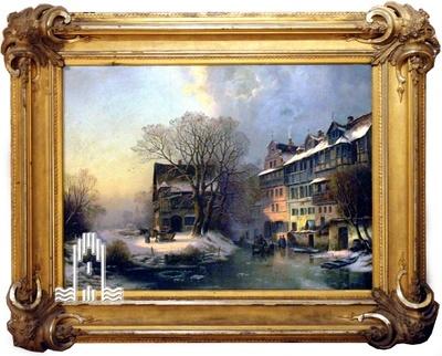 Prager Landschaft Ölgemälde, eingefasst in kunstvoll verzierten Stuck-Bilderrahmen.