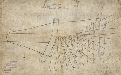 Zeichnung Detail des Flugappaarates von Otto Lilienthal