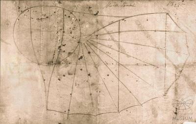 Werkstatt-Zeichnung Otto Lilienthals für Flugapparat