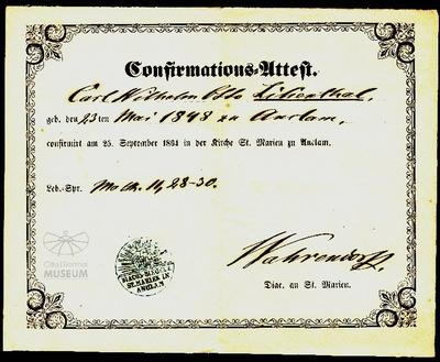 Konfirmations - Attest für Otto Lilienthal