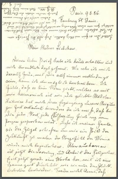 Briefwechsel Gustav Lilienthal / Anna Rothe (Brautbriefe)