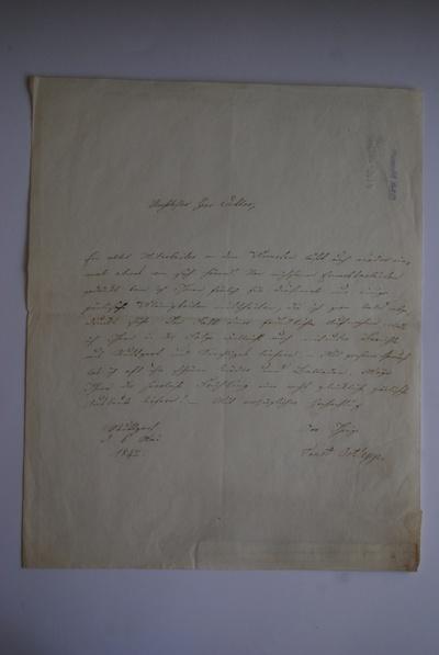 Brief von Ernst Ortlepp