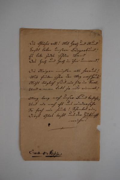 Handschriftlicher Text von Ernst Ortlepp:Die Gläser voll ...