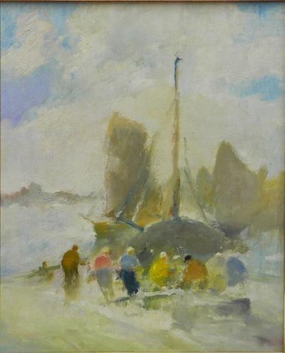 Fischer mit Segelboot