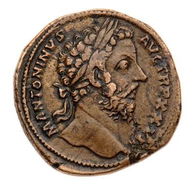 Messingmünze: Marcus Aurelius / Kaiser und Italia
