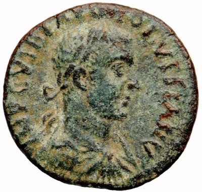 Bronzemünze: Büste des Kaisers Volusianus / der Hirte Ordes