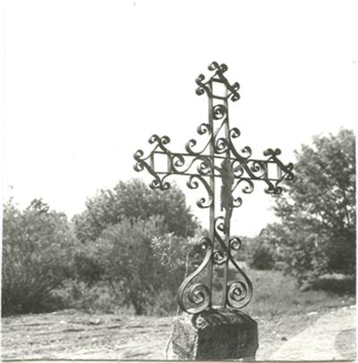 Zarasų rajono Imbrado kryžiaus arba koplytėlės viršūnė – metalinis kryžius