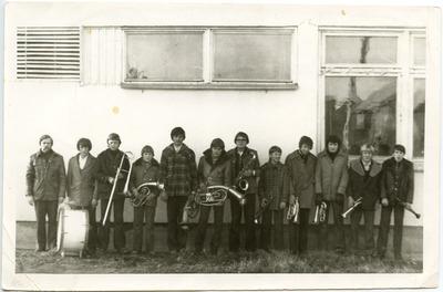 Žygaičių vidurinės mokyklos (Tauragės apskr.) orkestras apie 1974 metus