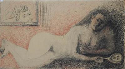 Γυμνή ανακεκλιμένη γυναικεία μορφή που την παρακολουθεί άντρας