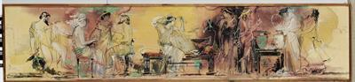 Αρχαιοελληνικό Συμπόσιο. [κατά πληροφορία της δωρήτριας:] Προετοιμασία της γιορτής των Παναθηναίων στην αρχαία Αθήνα