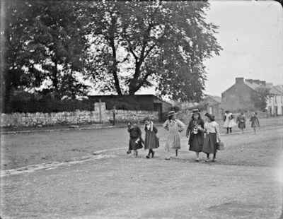Two groups of girls, some barefoot, at York Street, Castleblayney