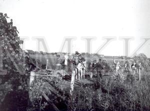Fotonegatīvs. Kāzinieku pajūgi uz lauka ceļa Rēzeknes apriņķa Varakļānu pagasta Kokaru sādžā.