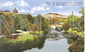 """Atklātne """"Rīgā. Kr. Barona tilts un Nacionālā opera""""; Atklātne """"Rīgā. Kr. Barona tilts un Nacionālā opera"""""""