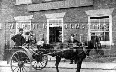 Horse and trap outside the Cross Keys Hotel, Crowle. Squire Bunyee of Sandhall Farm owner of the hotel with groom George Robert Kitson.