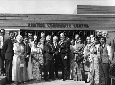 Group with the Mayor of Scunthorpe outside the Central Community Centre in Lindum Street in the 1970's