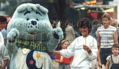 Mascot in St. John's Square in July 1987, during Scunthorpe Leisure Services Holiday '87 Fun day in July 1987