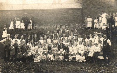A children's tea party in Manley Street, Scunthorpe in 1918, which was part of the Peace Celebrations for the end of the First World War