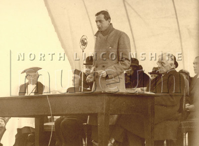 Prince George speaking at the opening ceremony of the new Kingsway/Queensway bypass during his official visit in 1933