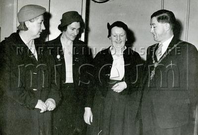 Mayor Gerard McQuade meeting three unknown ladies, c.1957-1958.