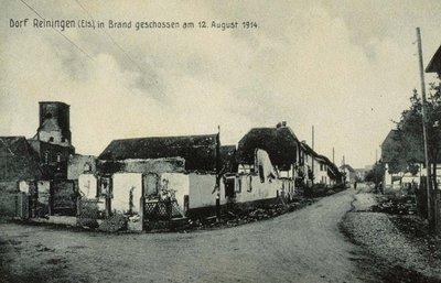 Dorf Reiningen (Els.), in Brand geschossen am 12. August 1914