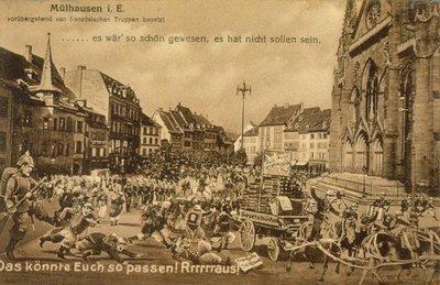 Mülhausen i. E. vorübergehand von französischen Truppen besetzt