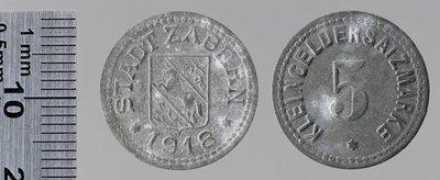 Saverne (Bas-Rhin) 5 pfennigs autre version : Monnaies de guerre / Jörgum & Trefz, Francfort/Main