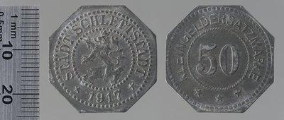 Sélestat 1917 50 pfennigs : Monnaies de guerre / Lauer, L. Chr., Nuremberg (Allemagne)