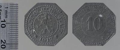 Sélestat 1917 10 pfennigs : Monnaies de guerre / Lauer, L. Chr., Nuremberg (Allemagne)