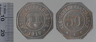 Wissembourg Kleingeldersatzmarke 5 pfennigs : Monnaies de guerre / Lauer, L. Chr., Nuremberg (Allemagne)