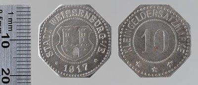 Wissembourg Kleingeldersatzmarke 50 pfennigs, 1917 : Monnaies de guerre / Lauer, L. Chr., Nuremberg (Allemagne)