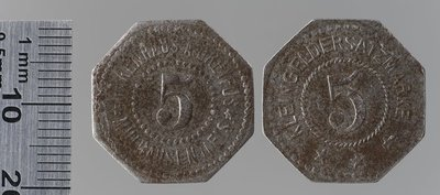 Émission privée magasin Dreyfus 5 pfennigs : Monnaies de guerre / Warenhaus A. Dreyfus Mulhausen in Elsass