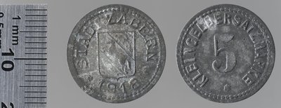 Saverne (Bas-Rhin) 5 pfennigs 1918 : Monnaies de guerre / Jörgum & Trefs, Francfort/Main