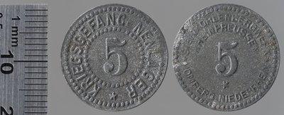 Homberg-Niederrhein 5 pfennigs : Monnaies de guerre