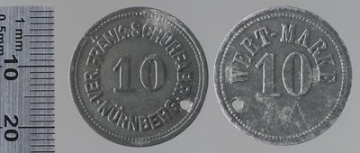 Nürnberg chaussures 10 pfennigs : Monnaies de guerre / Ver. Fränk. Schuhfabrik Nürnberg, 10 Pfenni